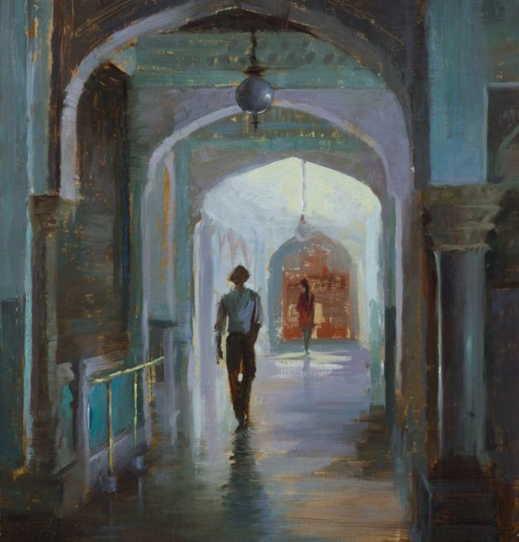"12Jun01 ""Interior of Man Singh Palace, Udaipur"" 12 x 16 Oil"